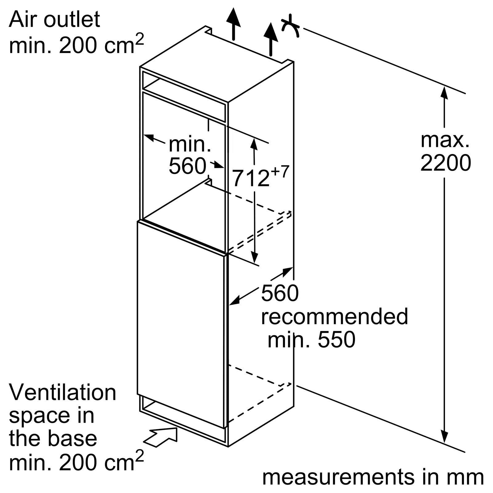 Bosch GIV11AF30 55cm Built-In Integrated Freezer, 0.72m
