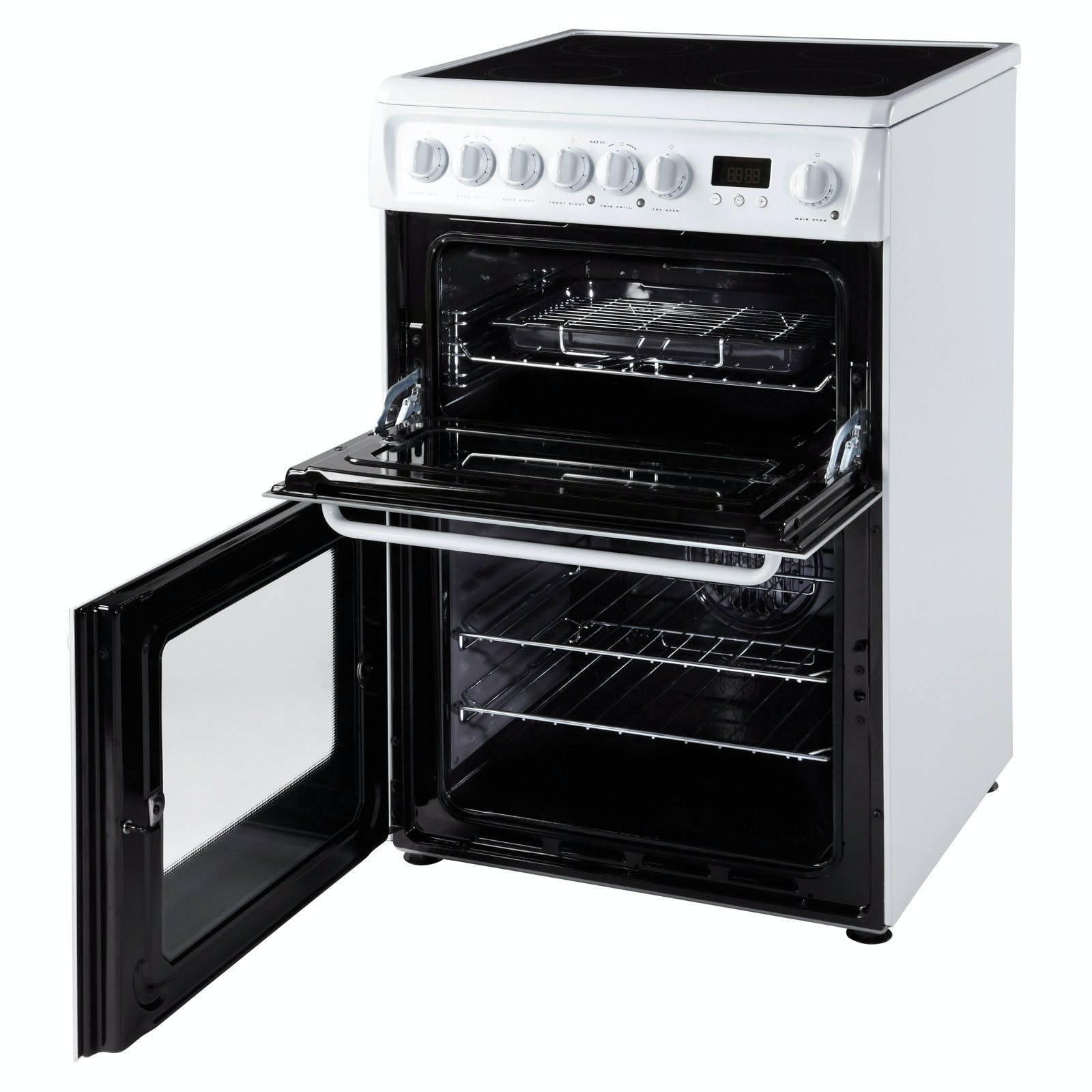 Hotpoint Hae60ps 60cm Electric Cooker In White Ceramic Hob Double Oven This Has A Multifunction Easyclean Enamel