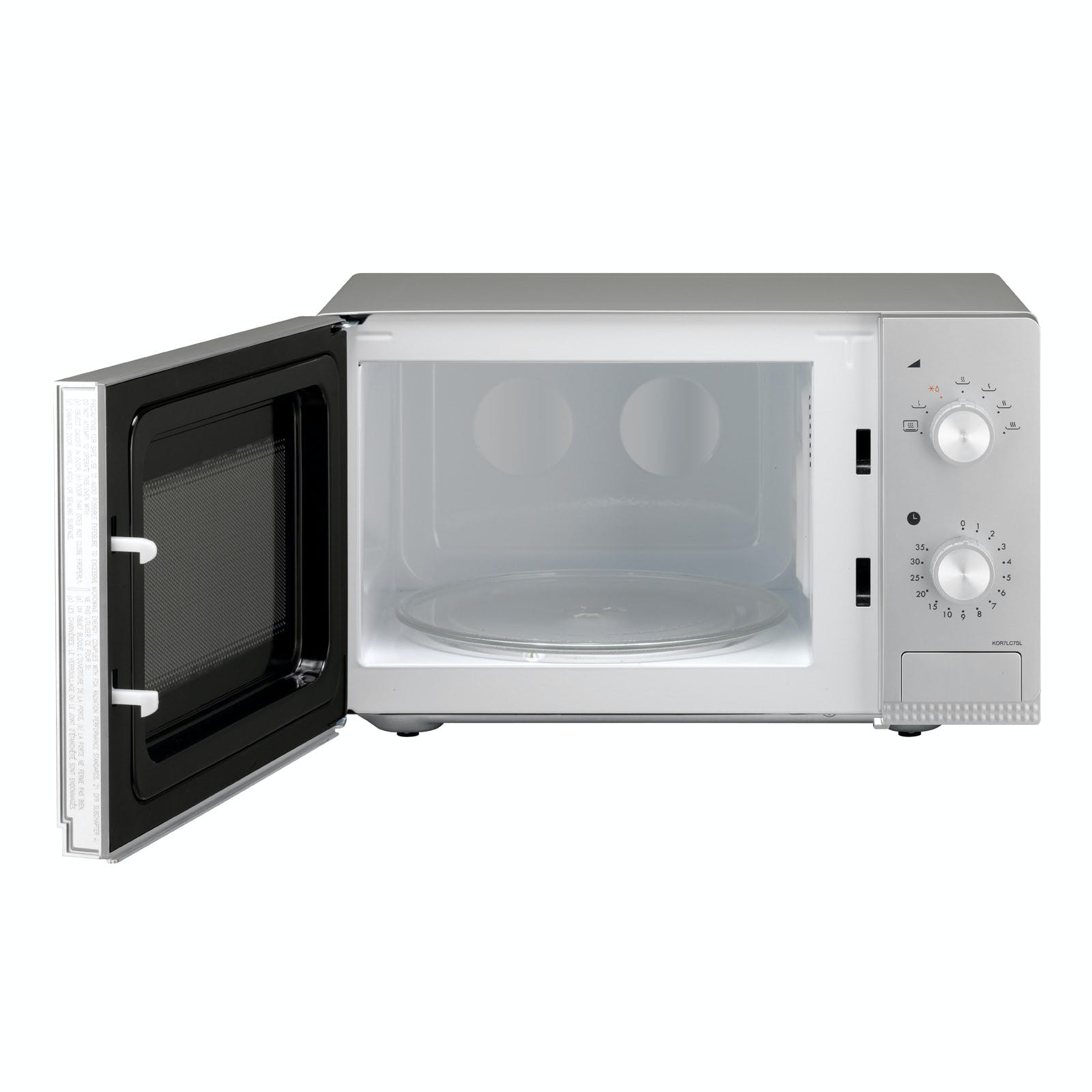 Daewoo KOR7LC7SL Microwave Oven in Silver, 20L 800W Dial Controls