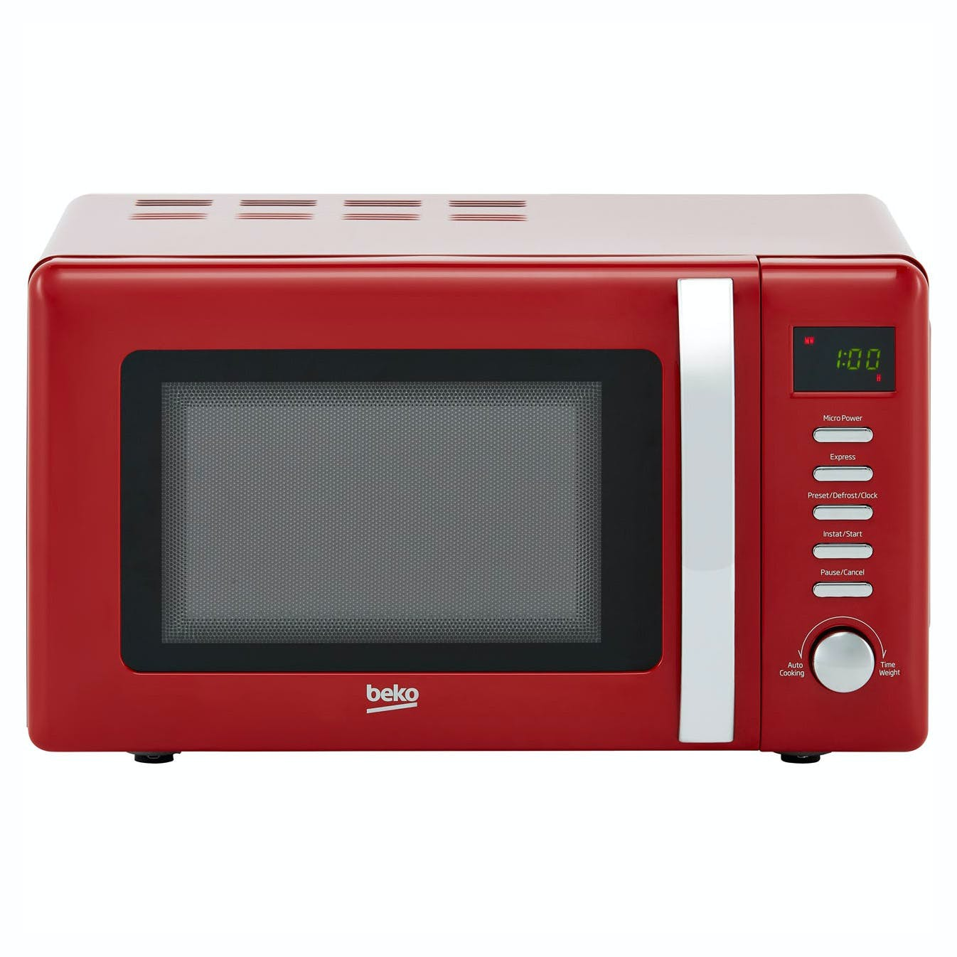 Beko Moc20200r Retro Style Microwave Oven In Red 20 Litre