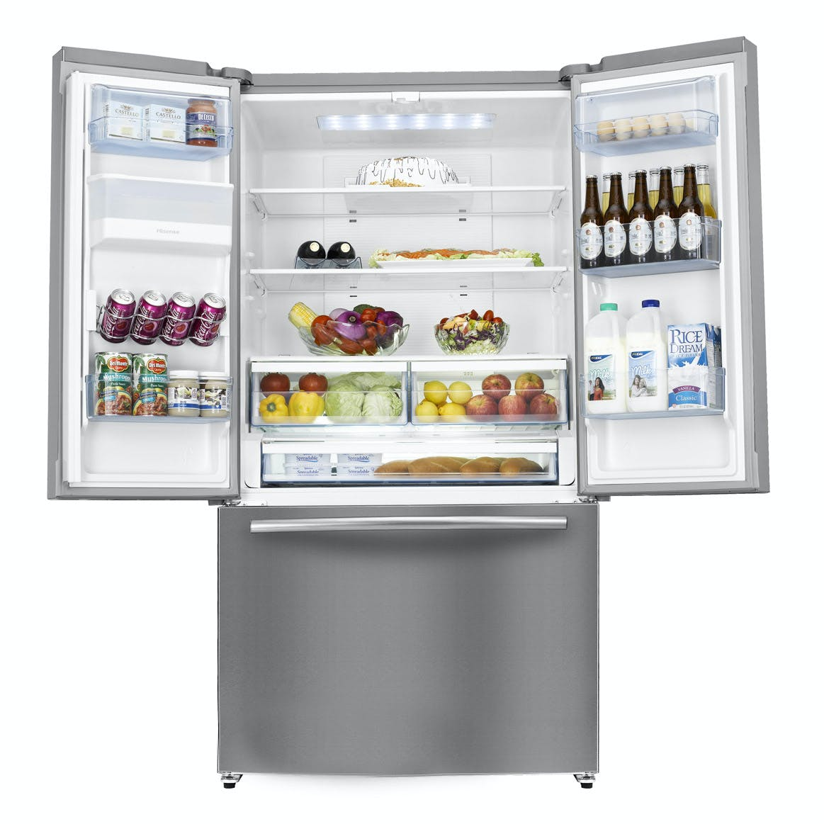 Hisense Rf697n4zs1 American Fridge Freezer With French Doors In Ststeel
