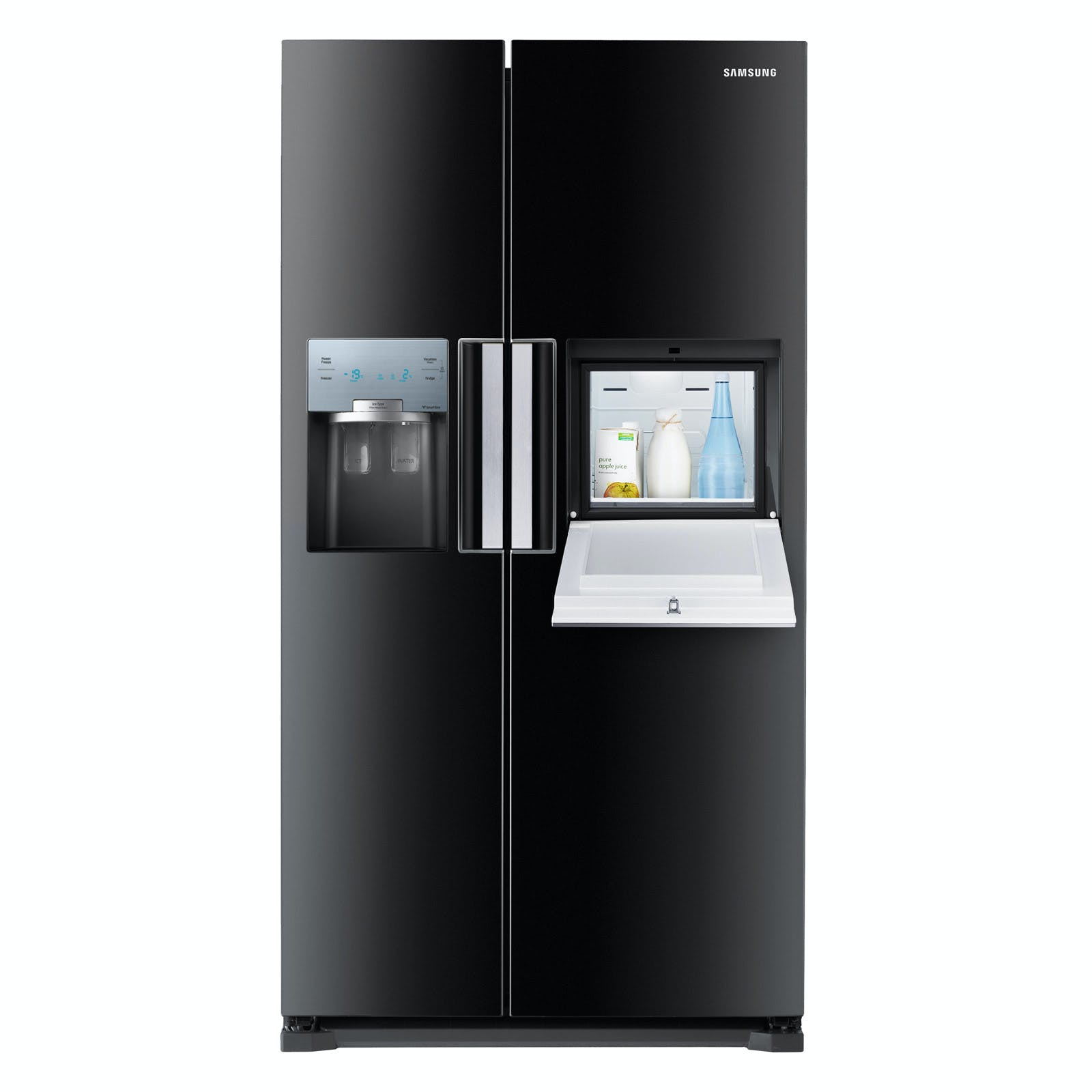 Samsung Rs7677fhcbc American Fridge Freezer In Gloss Black