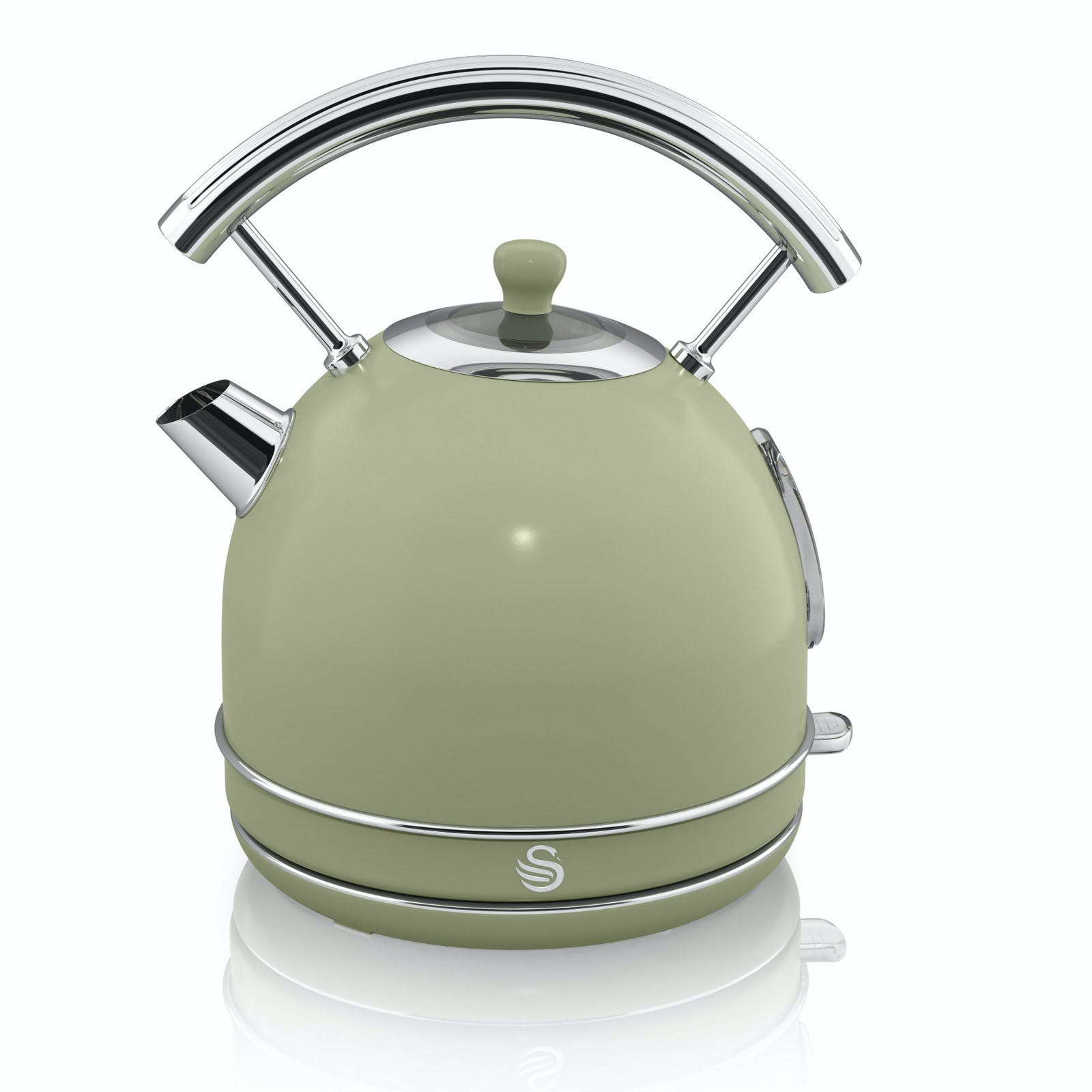 Green Kitchen Kettle: Swan SK34021GN 1.7 Litre Retro Dome Kettle In Green, 3.0