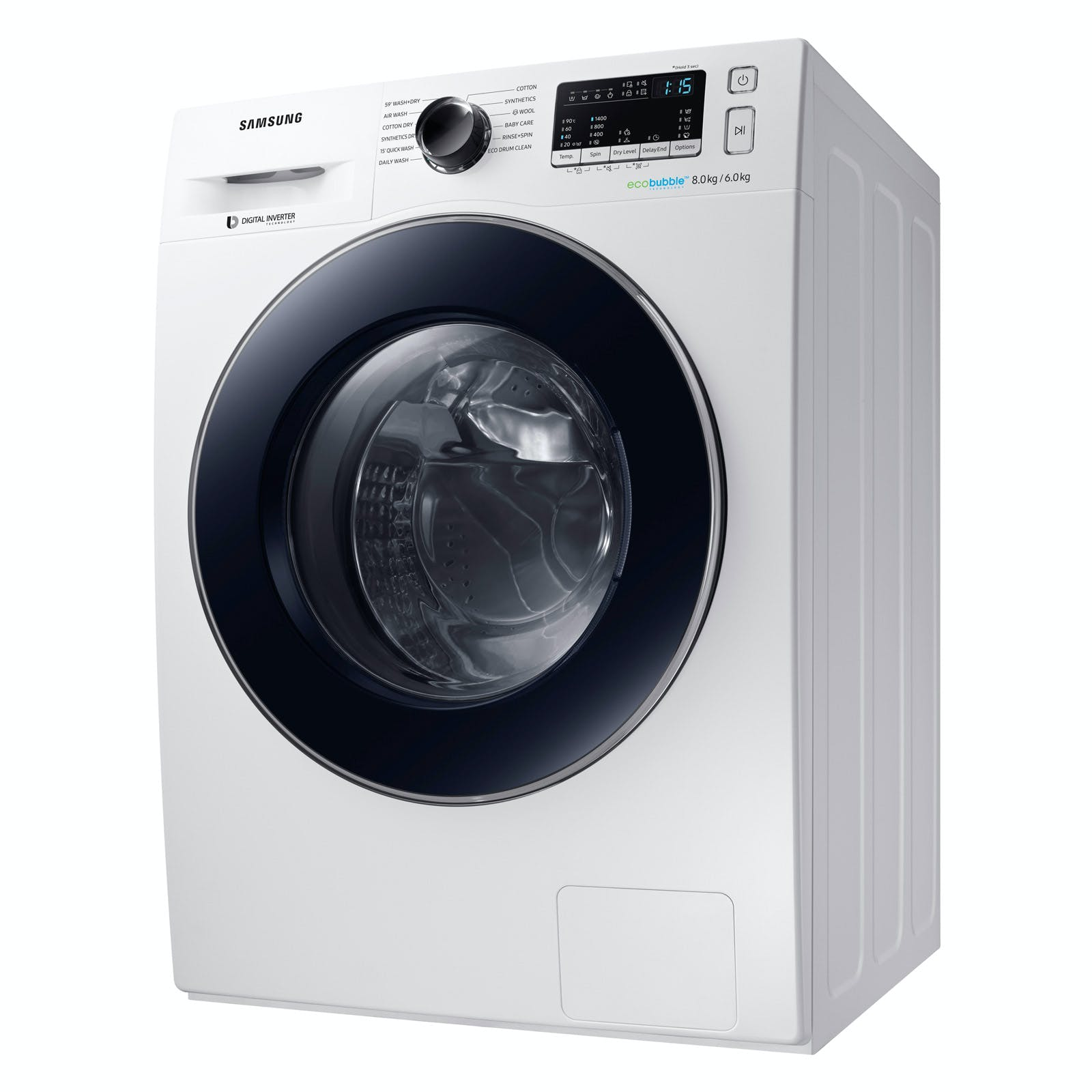 samsung wd80m4453jw eco bubble washer dryer in white. Black Bedroom Furniture Sets. Home Design Ideas
