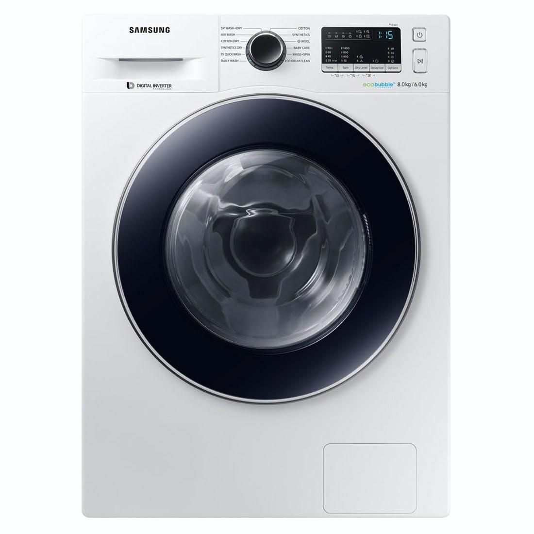 samsung wd80m4b53jw eco bubble washer dryer in white 1400rpm 8kg 6kg. Black Bedroom Furniture Sets. Home Design Ideas