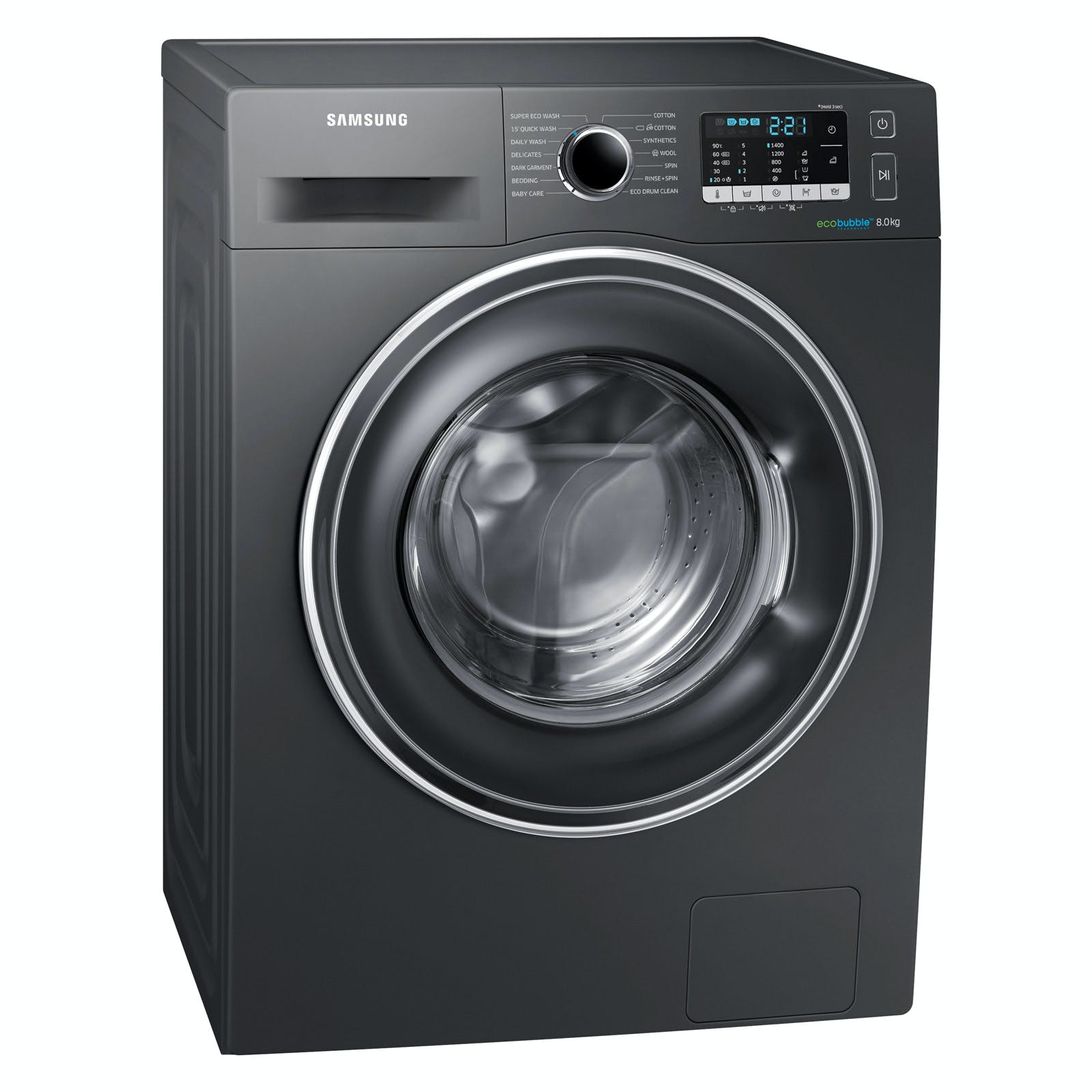 samsung ww80j5555ex eco bubble washing machine in graphite. Black Bedroom Furniture Sets. Home Design Ideas